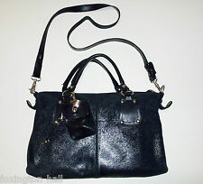 BEAUTIFUL MILANA METALLIC BLACK SUEDE LEATHER HANDBAG with pouch charm
