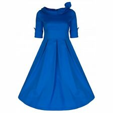 NEW VINTAGE 50'S STYLE JACKIE ROYAL BLUE ROCKABILLY SWING PARTY DRESS SIZE 20