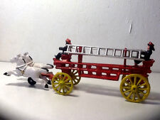 Cast Iron Toy Horse Drawn Fire Engine Ladder Truck W/ Figures and Orig. Box!