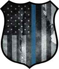 "4"" Police Shield Tattered Thin Blue Line Police Officer Sheriff Badge  Sticker"