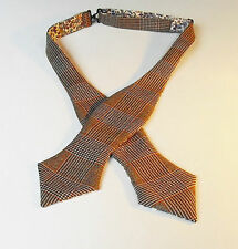 Scottish tweed laine carreaux self tie bow tie/liberty doublure imprimé.