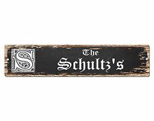 SP0876 The SCHULTZ Family name Sign Bar Store Shop Cafe Home Chic Decor Gift