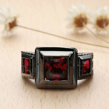 Rhinestone Square Ring 18K Black Gold Plated Jewelry 2 Color Size 7-9 NF