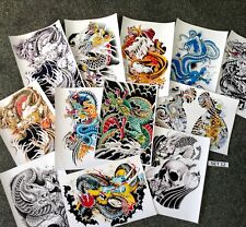 TATTOO FLASH DESIGN SHEETS, LAMINATED ! DRAGONS