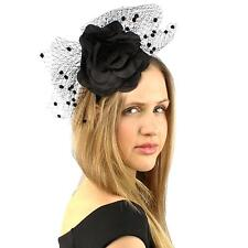 Fancy Standing Fishnet Floral Ribbon Headband Fascinator Millinery Church Black