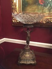 Beautiful Victorian Figural Compote With Crystal Bowl