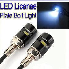 2pcs White LED SMD Motorcycle&Car License Plate Screw Bolt Light lamp bulb 12V