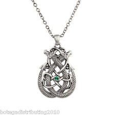 Celtic Double Dragon Necklace Silver Lead Free Pewter Green Stone 1 1/2""