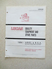 1964 Lucas illustrated equipment booklet for BSA & Ariel motorcycles & scooters