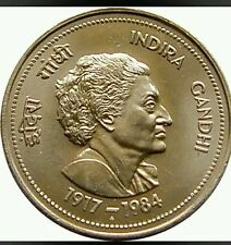 5 FIVE RUPEE INDIRA  GANDHI BIG COIN IN FINE CONDITION