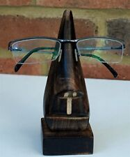 Glasses Stand Quality Wooden Holder Spectacles Specs Hand Carved Nose Rack New