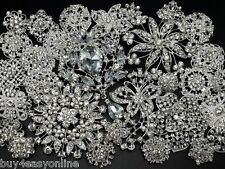 Brand 30pc/lot Mixed Alloy Sliver Rhinestone Crystal Brooch DIY Wedding Bouquet