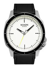 Nixon A914127 Ranger OPS White Analog Dial Steel Case Black Leather Band Watch
