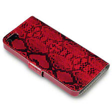 Covert PU Leather Wallet Case / Cover For iPhone 5/5S/SE - Red Snakeskin