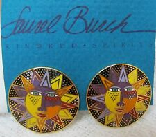 VINTAGE LAUREL BURCH Signed SOLEIL SUN FACE CLOISONNE EARRINGS 14K GF Posts