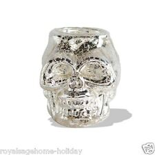 40745A Mercury Glass Skull Candle Holder Halloween Christmas Table Decoration