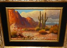 BEVERLY CARRICK WESTERN DESERT CACTUS LANDSCAPE ORIGINAL OIL ON BOARD PAINTING