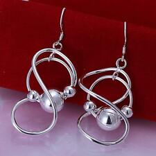 Silver Color 8 Characters Shape Hanging Beads Earrings Hoop Studs Women Lover