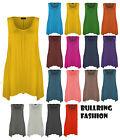 New Ladies Plus Size Hanky Hem Raw Edge Sleeveless Scoop Neck Vest Top 8-26