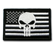 Punisher American US Flag MORALE Black Patch Iron On Harley Biker Military Army