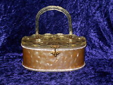 Vintage 60s Carved Lucite & Marble with Rhinestones Plastic Box Purse