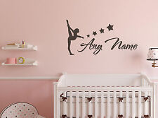 Personalised Gymnastics Vinyl Wall Sticker Any Name  Decals Kids Playroom Decor