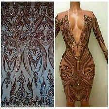 New Champange Gold Sequins Embroidery Lace Fabric Mesh Dress Gown Bridal 1 Yard