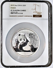 2015 China 5oz. 50 Yuan Proof Silver Panda Coin NGC/NCS PF70 Ultra Cameo Perfect