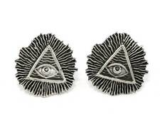 All Seeing Eye (Illuminati) Cufflinks, English Pewter, Handmade, Gift Boxed (h)