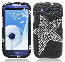 For Samsung Galaxy S III 3 Crystal Diamond BLING Case Phone Cover Black Star