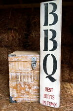 "Large Rustic Wood Sign - ""BBQ Best Butts In Town"" - Vertical - 3 Feet!"