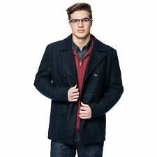 NEW Black Rivet Men's NAVY XL Double Bread Classic Wool Peacoat