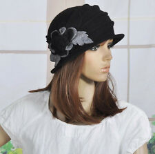 M92 Black  Wool Acrylic Cute Flowers Winter Brim Hat Cap Beanie Women's