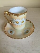 VINTAGE T&V LIMOGES FRANCE DEPOSE GOLD DAISY PORCELAIN CUP & PLATE