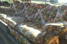 008 Vintage Deville Furniture Funky Floral Fruit Pattern 1970s 1980s Sofa Couch