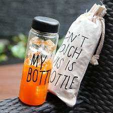 500ML Portable Ice Fruit Juice Water Cup My Bottle Sports Tumbler + Canvas Bag
