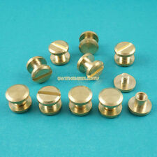 50 Set 8*3mm Solid Brass Rivet Chicago Screw for Leather Craft Flat