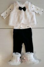 Carters girls christmas fuzzy vest and fuzzy boots 4pc lot outfit newborn NB