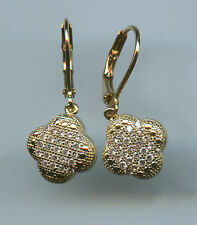 YELLOW GOLD PLATED, MICRO PAVE 3/4 CARAT TW CZ CLOVER DANGLE LEVERBACK EARRINGS