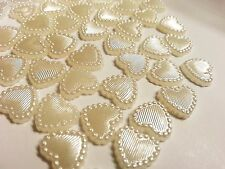 100 Textured CREAM PEARL HEARTS Wedding Invitation Craft Stick On With Glue!