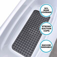 "Black Extra Long Bath Mat: 16""W x 39""L In-Tub Mat with Suction Cups"