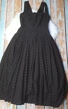 Alberta Ferretti ITALY SZ 10  gray eyelet black checkered a-line dress aeffe spa