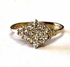 14k yellow gold .45ct SI1 H ladies cluster diamond ring 2.5g womens estate band