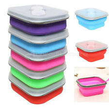 Collapsible Bento Lunch Box + Spoon Utensils Picnic Food Container Storage Box