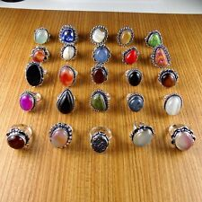 Wholesale Lot 925 Sterling Silver Overlay GEM Multi Stone Handmade Rings 25 pcs