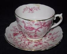 Coalport Bone China, England, CAIRO Pink On White, Cup & Saucer Set, CHIP