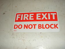 "Fire Exit Do Not Block Metal Sign ~ 12""W x 6""H  W/ Mounting Holes  Safety Exits"