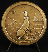 Médaille La chasse hunting rabbit lapin lièvre hare animal 68mm sc Fourbé medal