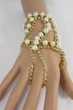 New Women Silver Gold Metal Fashion Bracelet Hand Chain Slave Ring Pearl Beads