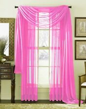 3 Piece Sheer Panel Set Window treatment covering pink Curtains & Scarf
